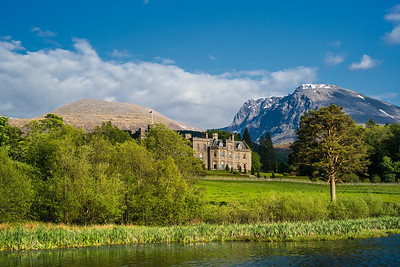 a view of Inverlochy Castle from the pond
