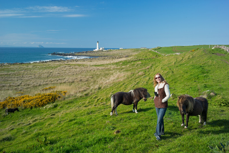 Rebecca with two Shetlands at Corsewall
