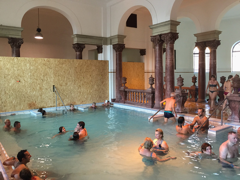 Inside the thermal pools at the Szechenyi Baths, Budapest