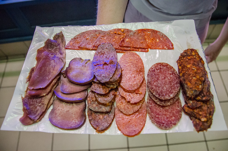 Hungarian meats on a Budapest food tour: mangalica ham, venison, even horse!