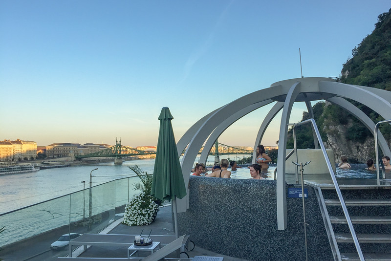 Thes rooftop pool overlooking the Danube River | Rudas Baths in Budapest, Hungary