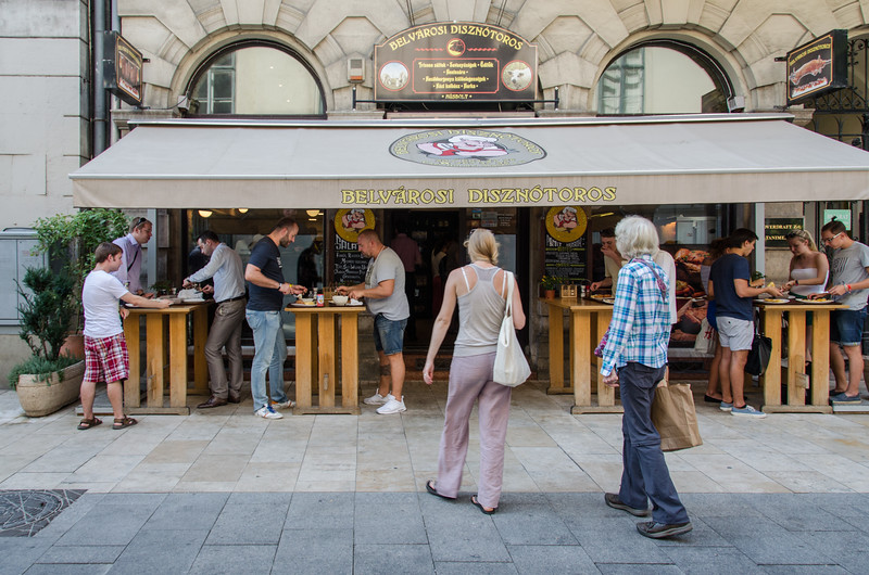 Belvarosi Disznotoros, a popular Budapest restaurant for the local lunchtime crowd.