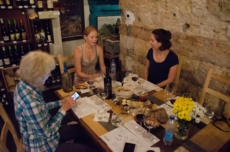 Samping Hungarian wine at Tasting Table, a Budapest wine bar and wine shop