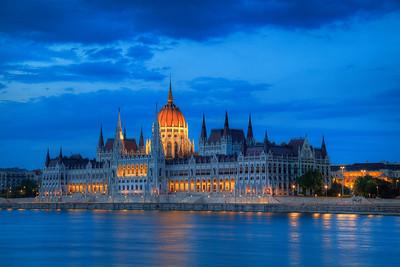 Parliament after sunset