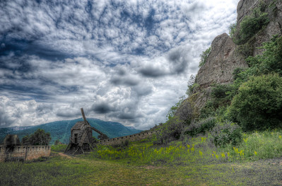 Wooden windmill close to the cliffs at Belogradchik, Bulgaria