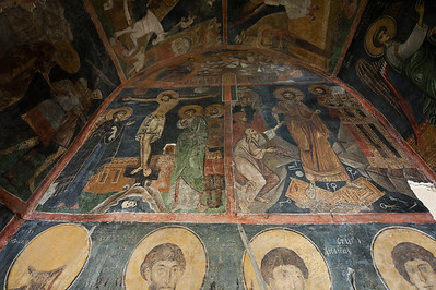 Colorful fresco on a wall of Boyana Church - Sofia, Bulgaria