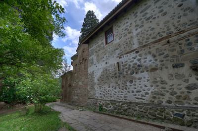 Stone walls outside Boyana Church in Sofia, Bulgaria