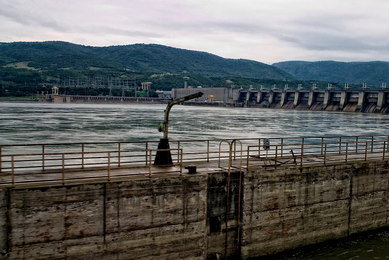 Dam by Iron Gate Lock. Danube River between Romania and Serbia.