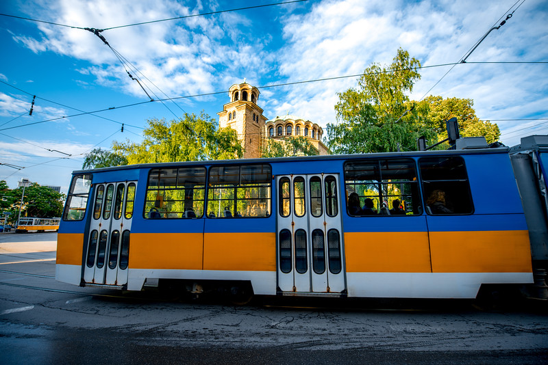 Old Tram with St. Nedelya church on background
