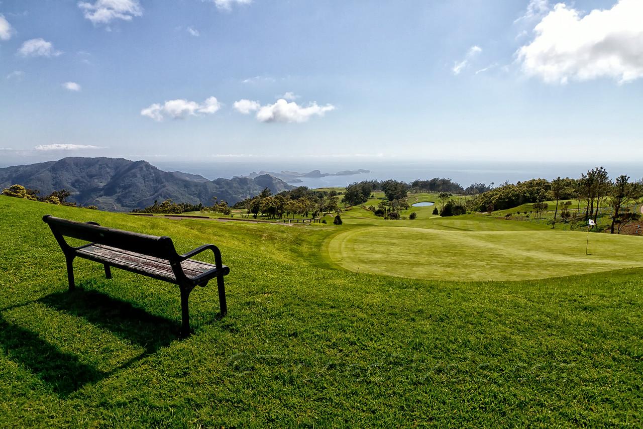 Your seat on the 9th hole of the Santo da Serra Golf Club
