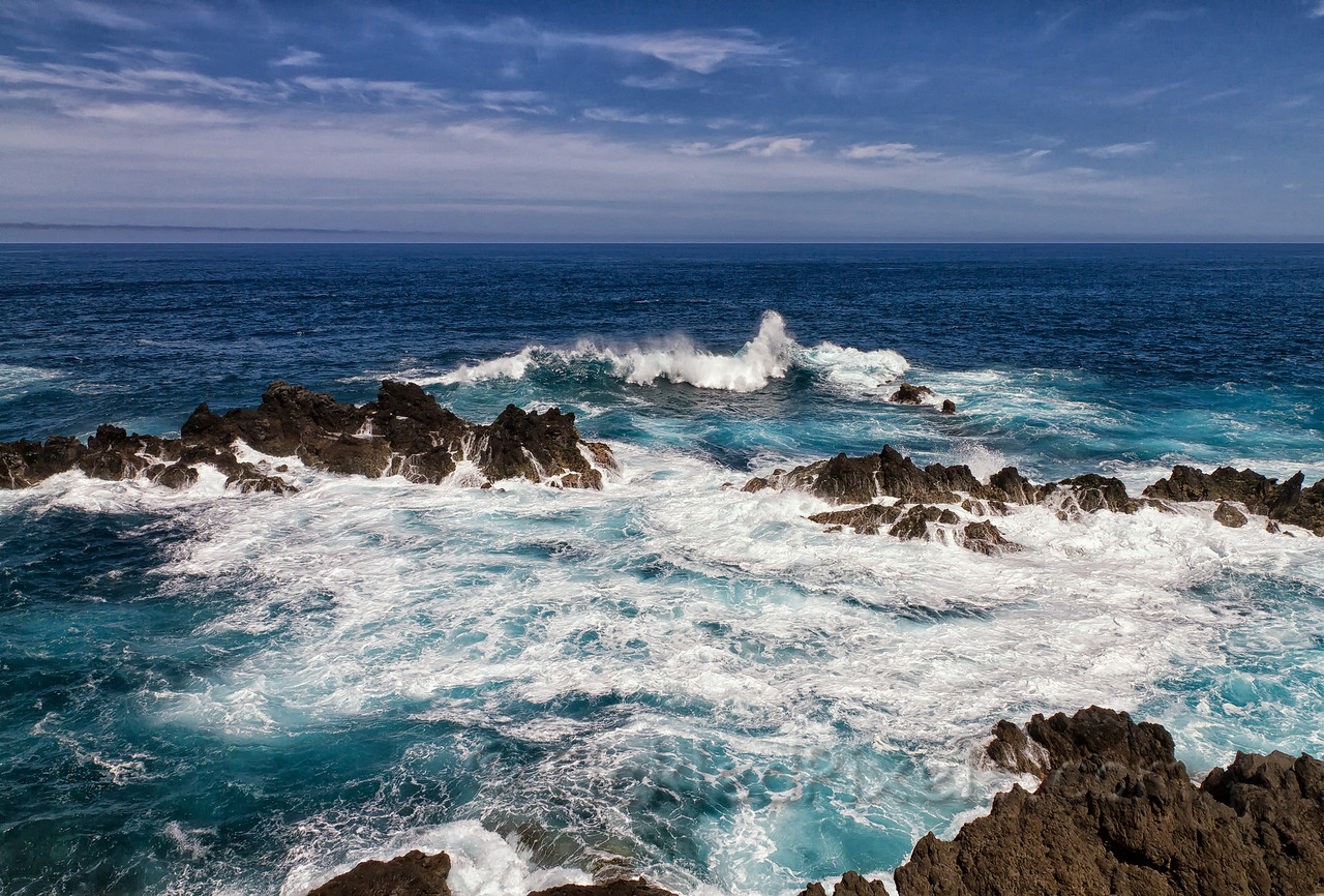 Atlantic Waves Breaking near the Lava Pools of Porto Moniz
