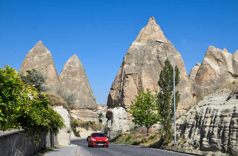 Driving into Goreme
