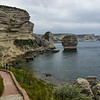 A path along the limestone cliffs and the sea stacks