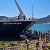 Ferry unloading on Gramvousa