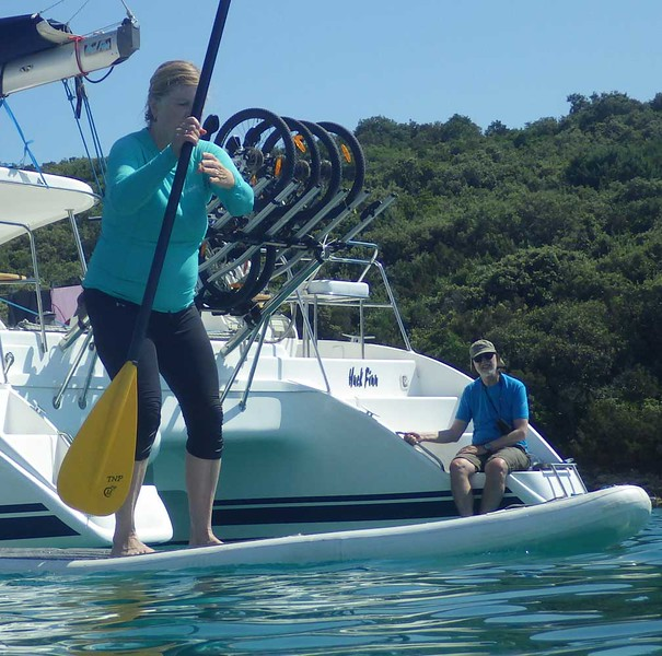 Some daring souls tried the stand-up paddleboards....