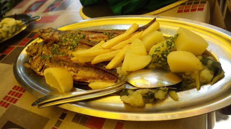 A typical fish lunch.