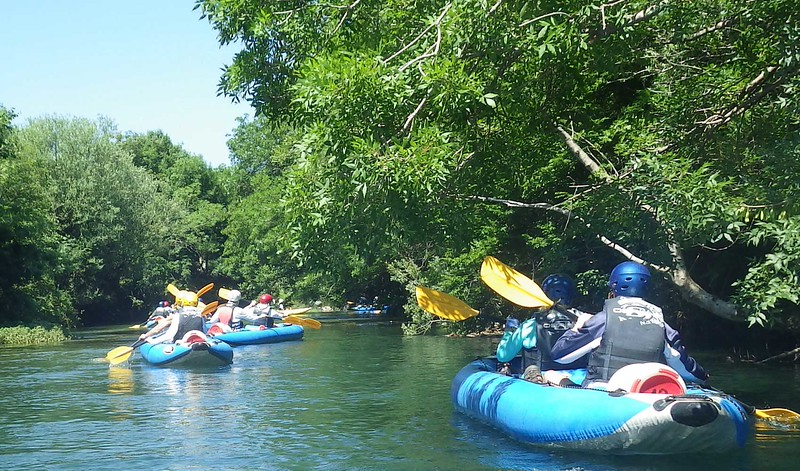 """Our next river stop was the Zrmanja River, where we kayaked in double rubber """"duckies.""""  The trip started slowly...."""