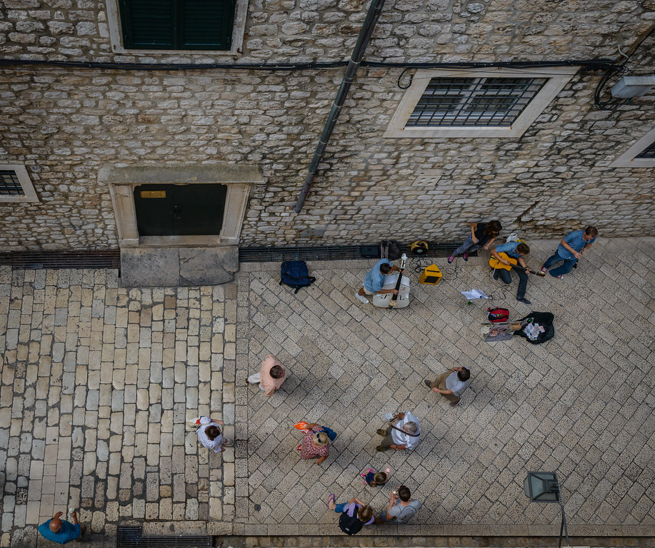View of Street Musicians from the Wall