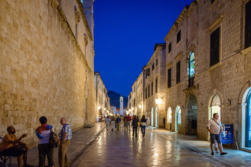 Evening on the Stradum (Placa), Old Town Dubrovnik