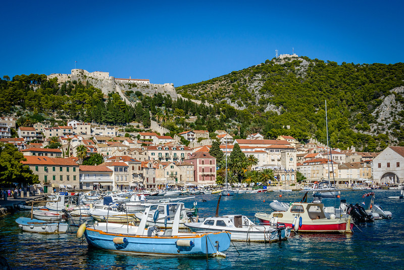 Hvar Harbor View of Town and Fortress
