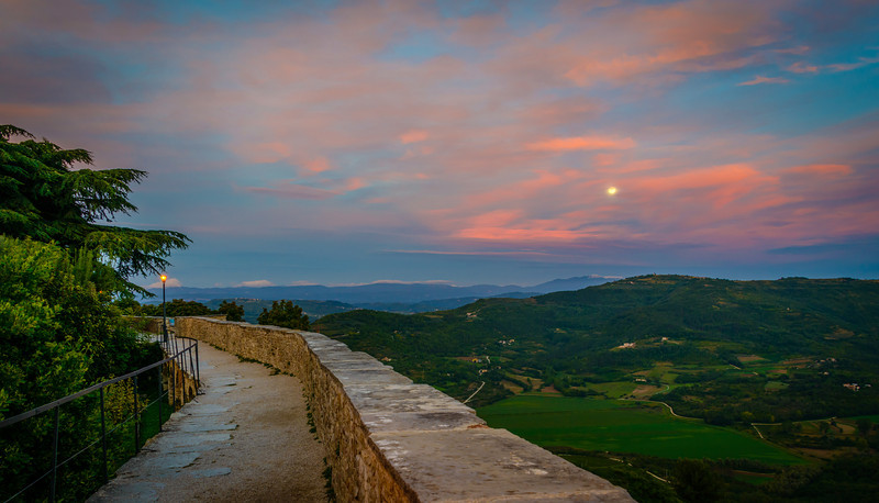 Rampart View of Moon Rise - Motovun