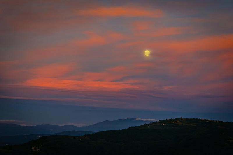 Moon lit Istrian Hills Form Motovun Rampart