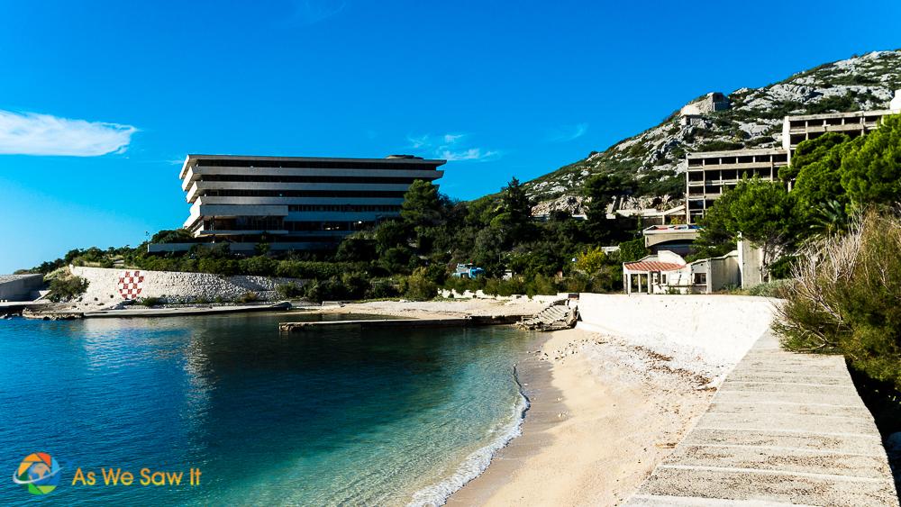 Kupari Croatia, view of hotel and ocean