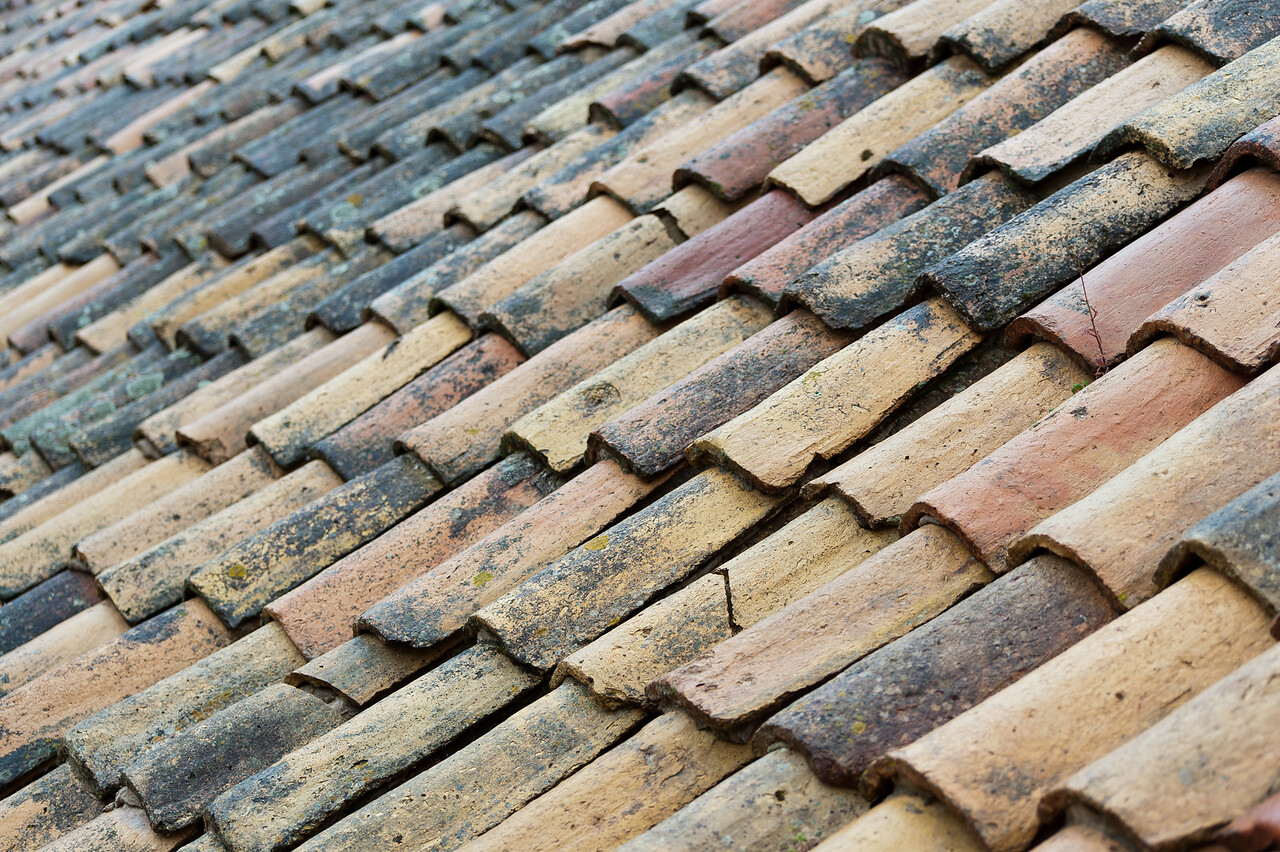 Wooden roof shingles at an angle - Dubrovnik, Croatia