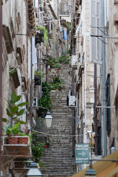 Narrow and steep stairs on an alley - Dubrovnik, Croatia