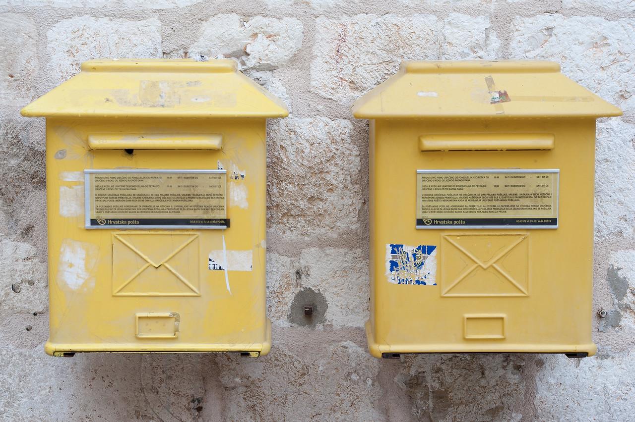 Yellow mailboxes in Dubrovnik, Croatia