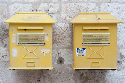 Yellow mailboxes in Dubrovnik, Croatia
