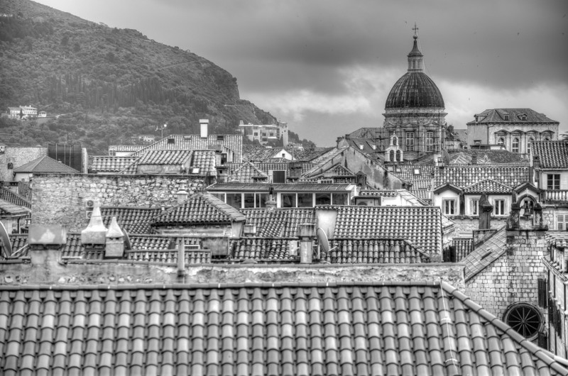 Dubrovnik Church Dome and rooftops in B&W - Dubrovnik, Croatia