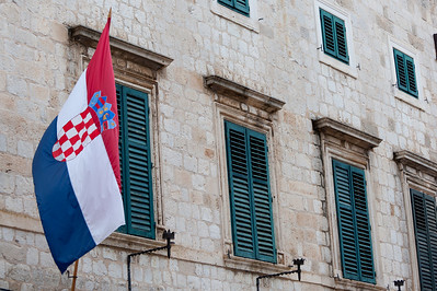 Croatian flag waving at a window - Dubrovnik, Croatia