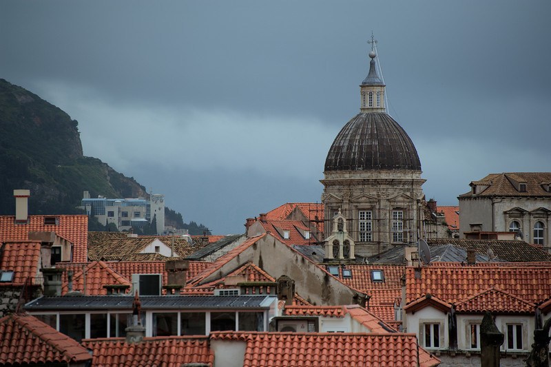 Dubrovnik Church Dome towering above city structures - Dubrovnik, Croatia