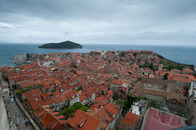 Shot of houses in Dubrovnik and nearby island - Croatia