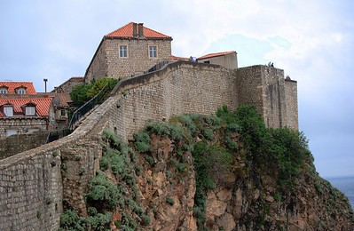 Stone walls along the cliff - Dubrovnik, Croatia