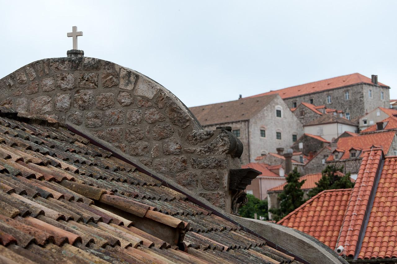 Wooden cross at the rooftop - Dubrovnik, Croatia