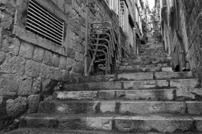 Stairs at a small alley in B&W - Dubrovnik, Croatia
