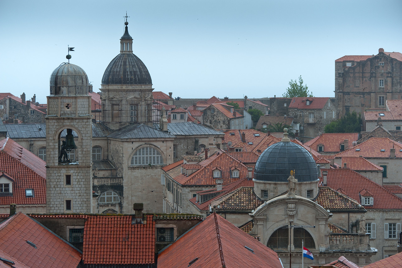 The City Bell Tower and Dubrovnik Church Dome - Dubrovnik, Croatia