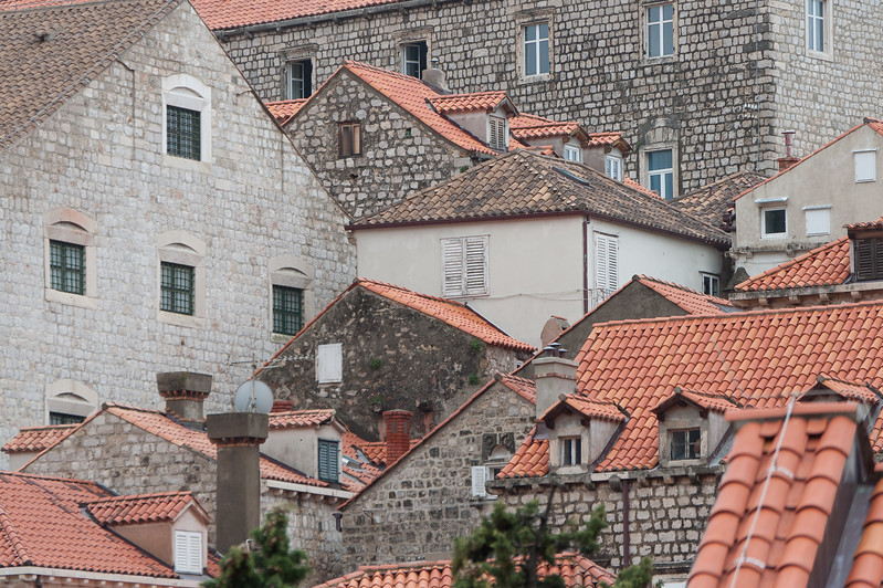 Rooftops on stone structures - Dubrovnik, Croatia