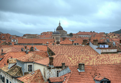 Dubrovnik Church Dome towering above the city - Dubrovnik, Croatia