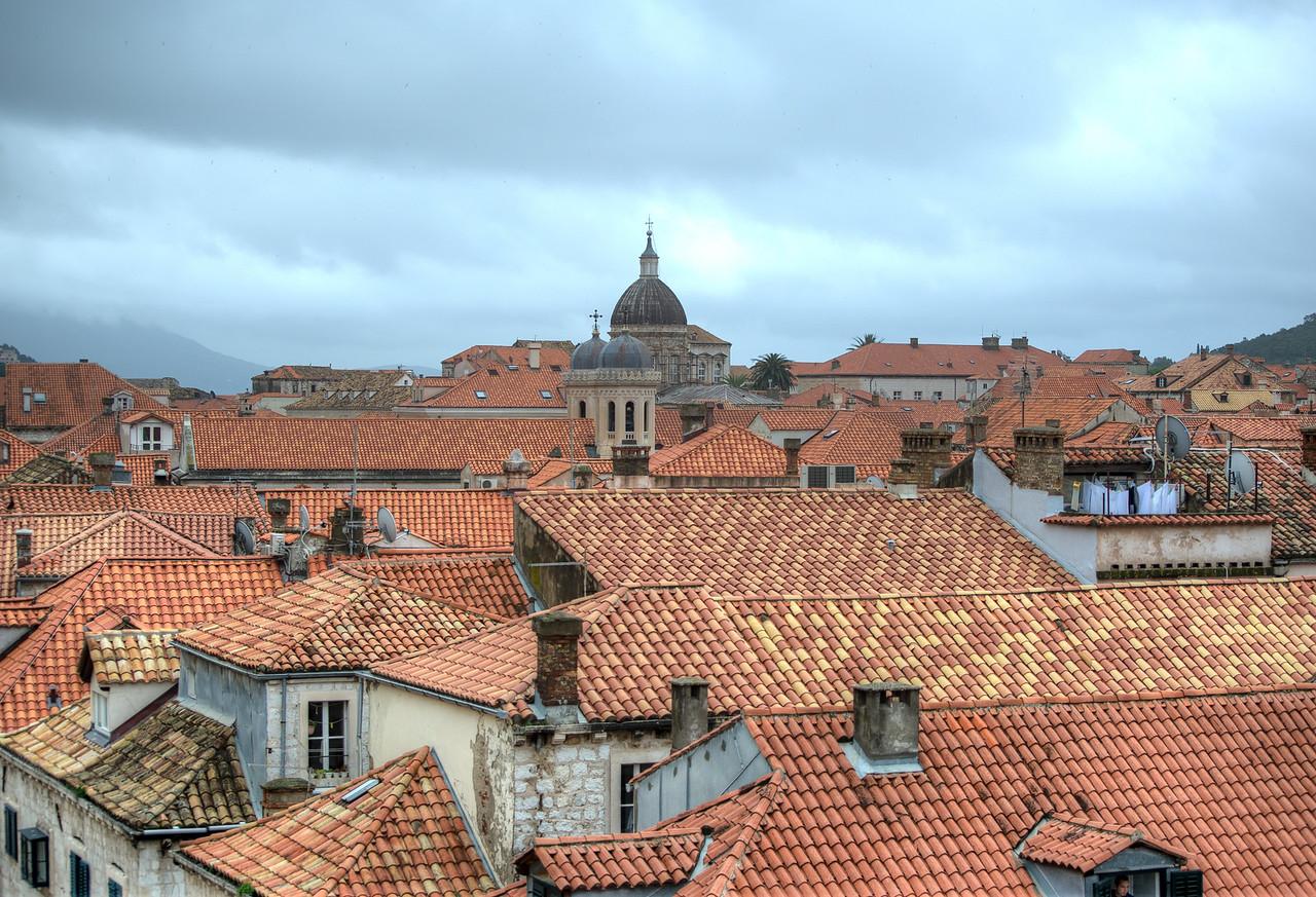 Dubrovnik Church Dome towering above the city - Dubrovnik, Croatia
