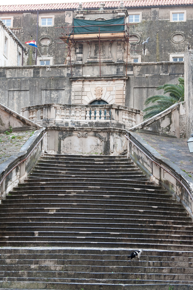 Old stairs leading to an old structure - Dubrovnik, Croatia