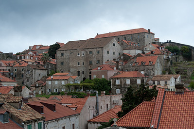 Enhanced shot of rooftops and stone structures - Dubrovnik, Croatia