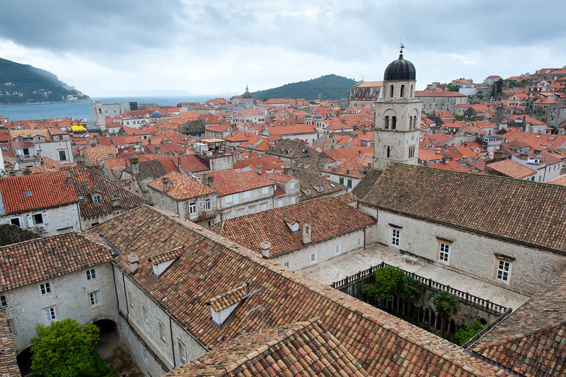 Rooftops and dome of the Assumption Cathedral of Dubrovnik in Croatia