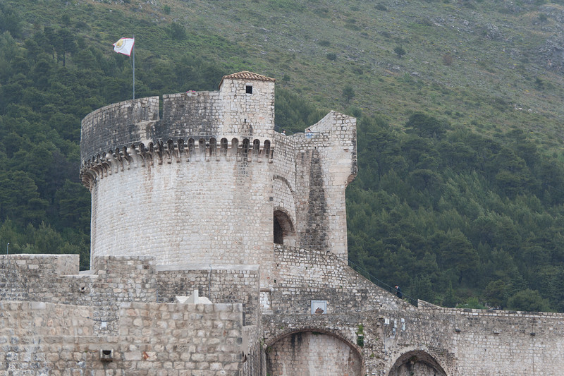 Flag on the walled fortress at Dubrovnik, Croatia