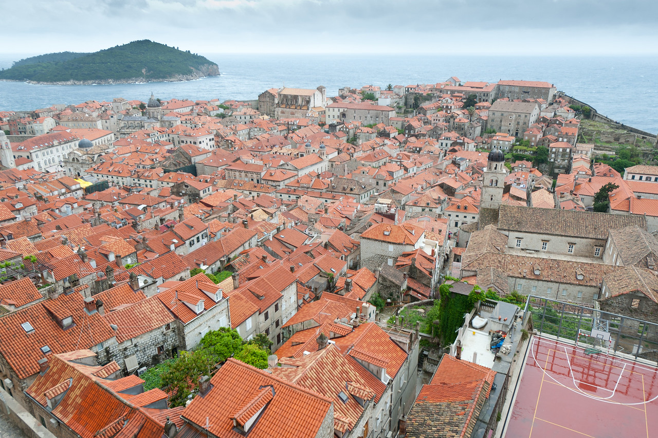 Overlooking view of the walled city of Dubrovnik, Croatia