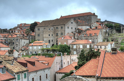 Overlooking view of structures and rooftops - Dubrovnik, Croatia