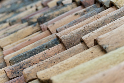 Wooden roof shingles in close-up - Dubrovnik, Croatia