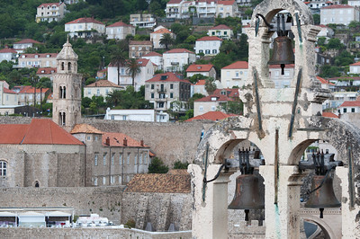 Three bells on church tower in Dubrovnik, Croatia